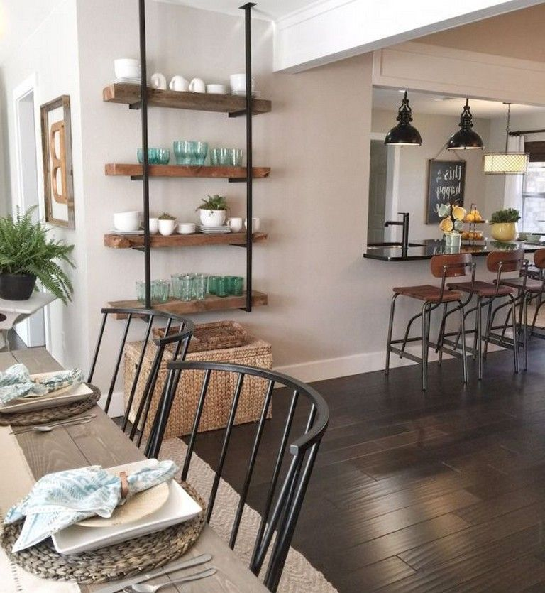 73+ Amazing Farmhouse Dining Room Table & Decorating Ideas #industrialfarmhouselivingroom