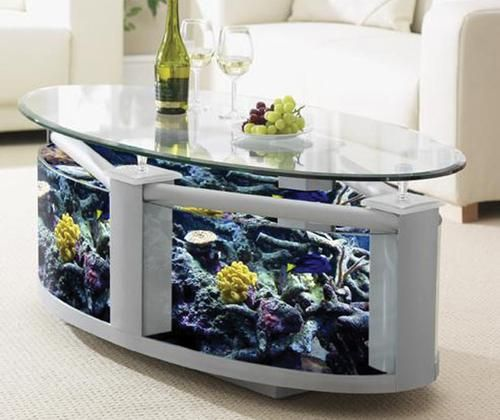 Elegant Furniture Interior Minimalist Oval Fish Tank Table With Cute White Sofa For  Chic Living Room Amazing Fish Tanks Design