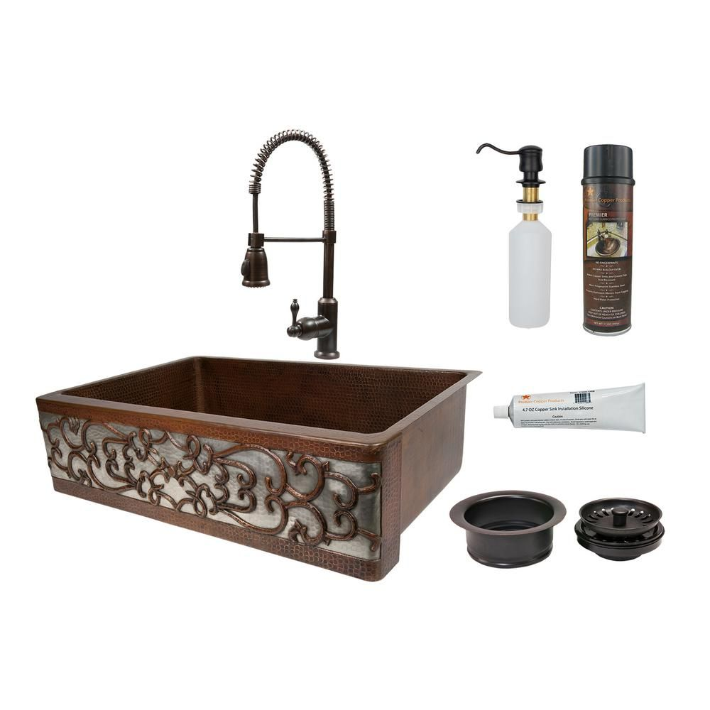 Premier Copper Products All In One Dual Mount Copper 33 In Single