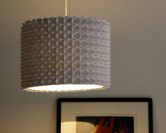 Large Prasada Drum Shade White Faceted Folded Paper Hanging Lamp