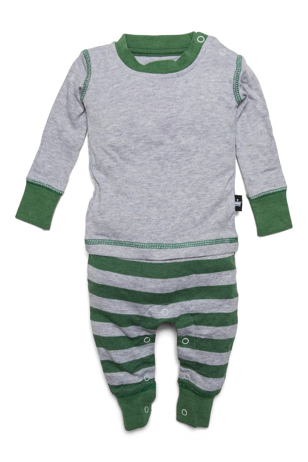Green & Gray Stripe Matching Family Pajamas Matching