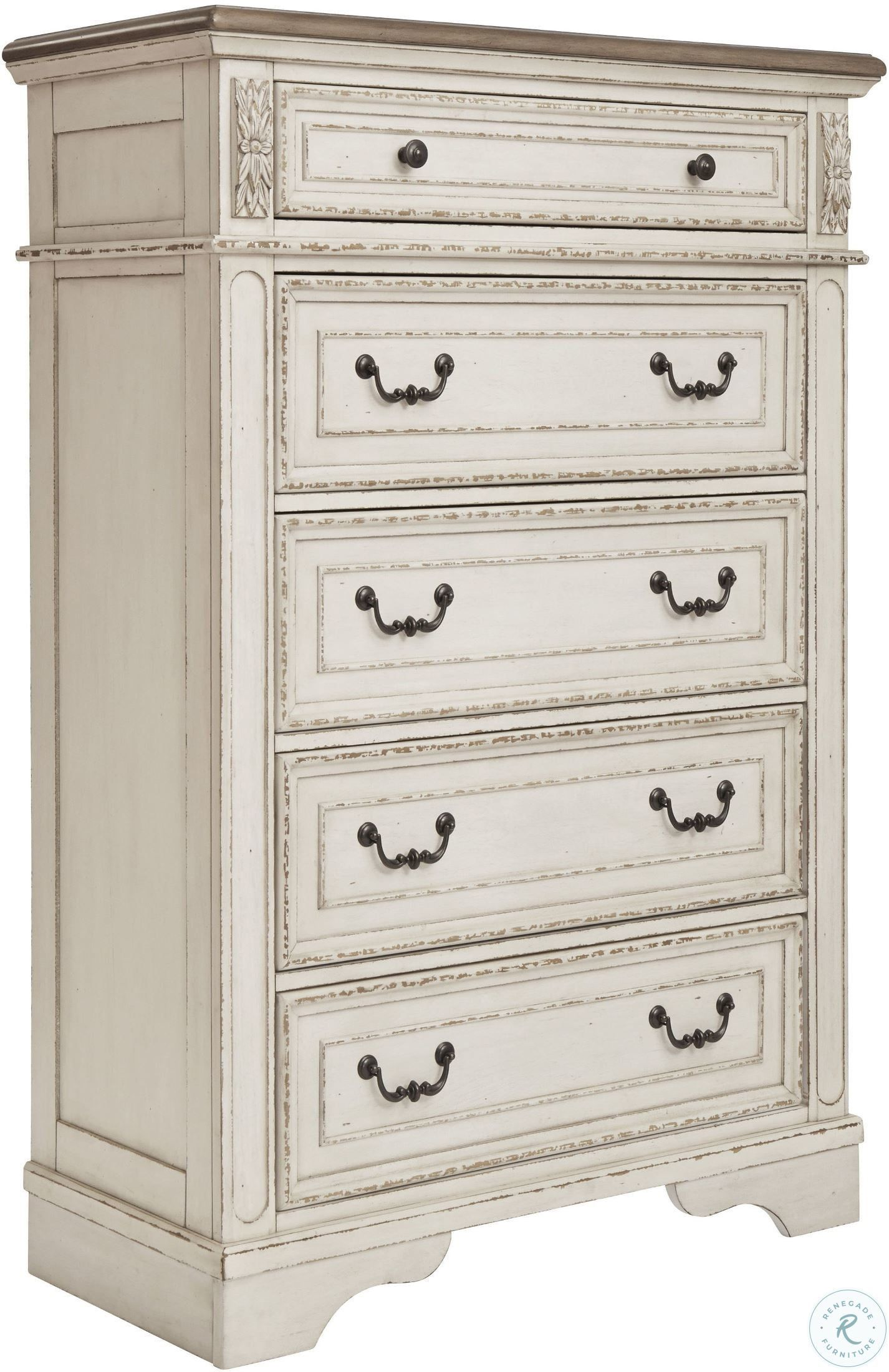 Realyn Chipped Two Tone Upholstered Panel Bedroom Set In 2020 Furniture Chest Of Drawers Ashley Furniture