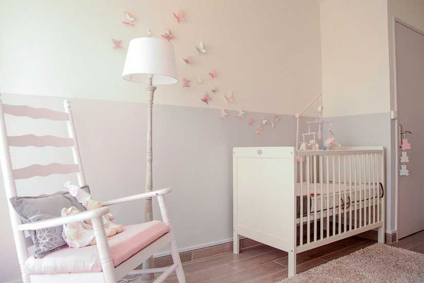 Papillon stickers chambre b b fille pas cher pour id es for Photo de chambre de bebe fille