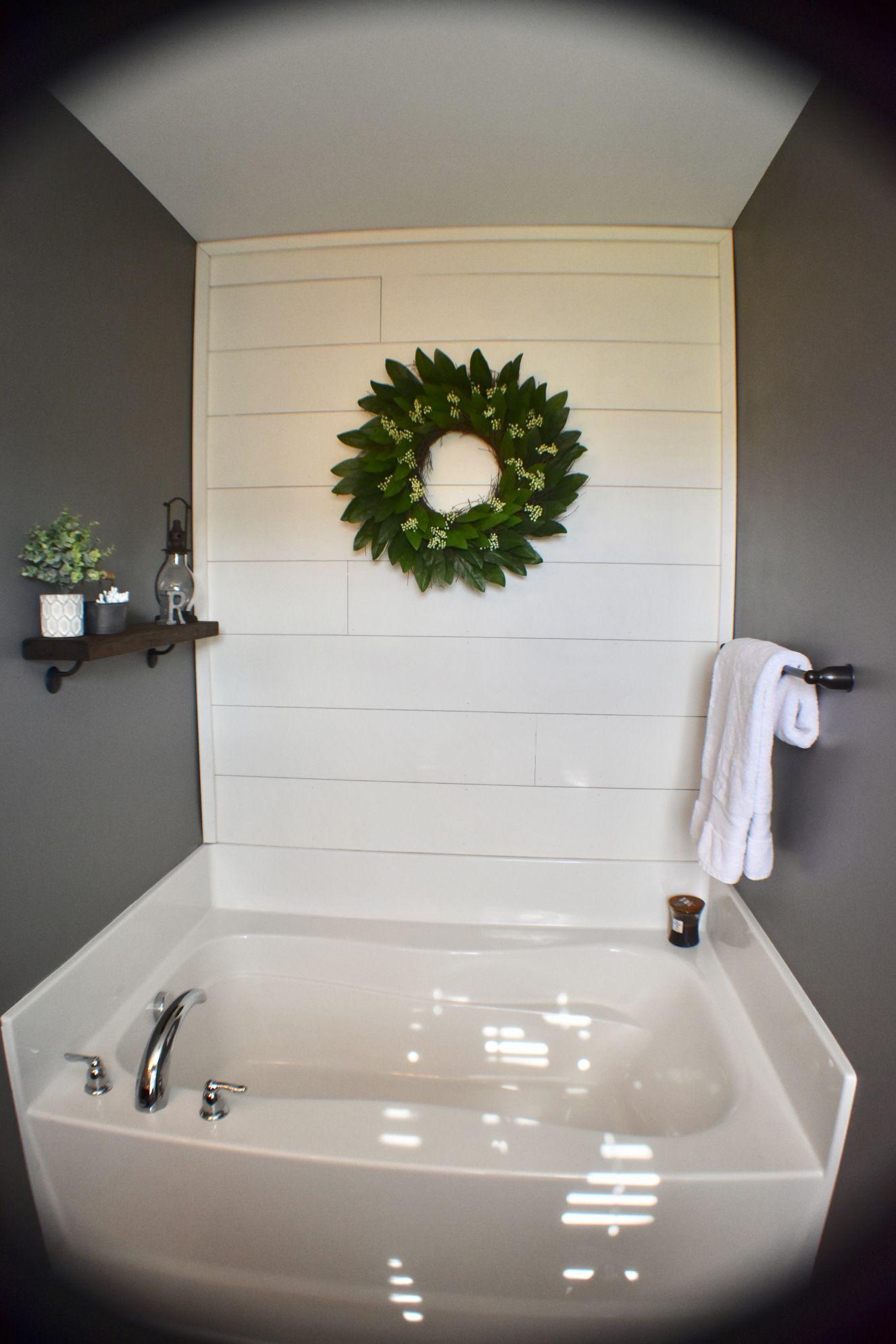 Shiplap over bathtub | DIY and home decorating ideas | Pinterest ...