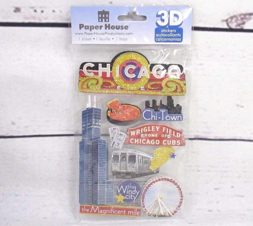 Paper house 3d stickers 45 x 85 chicago 1 sheet craft supply paper house 3d stickers 45 x 85 chicago 1 sheet craft supply jeuxipadfo Image collections