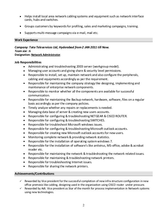 Resume Windows System Administrator - Specialist\u0027s opinion Baseball