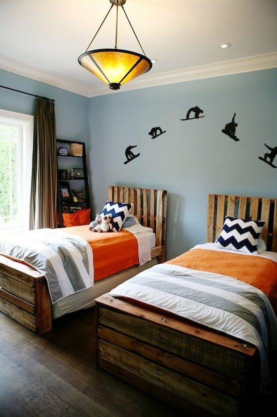 Boy Room Orange Grey Navy Boys Bedrooms Shared Bedrooms