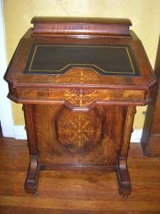 Vintage Pine Davenport Style Captains Desk Slant Top W Side Storage Mid Century Antique Secretary Desks Secretary Desks Vintage Secretary Desk