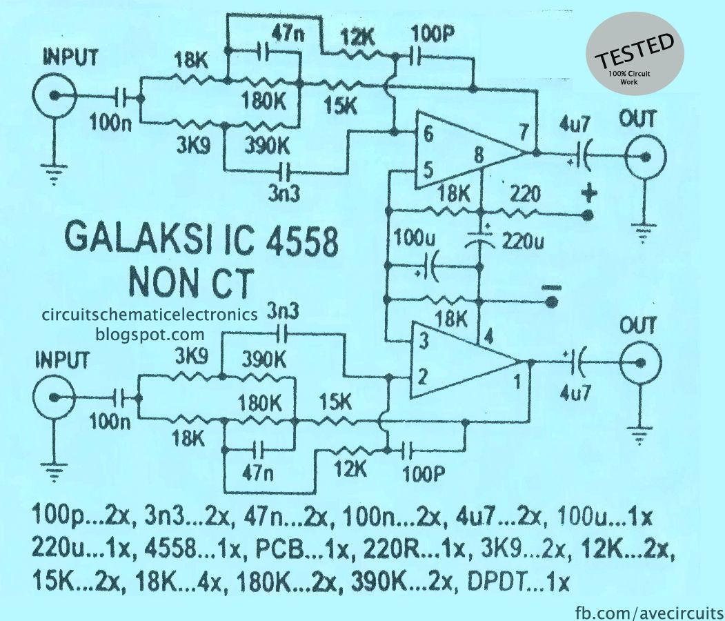 Ic 4558 Galaksi Circuit Trong 2018 Ic4558 Pinterest How To Wire 2 4ohm Subs Ohms Diagram