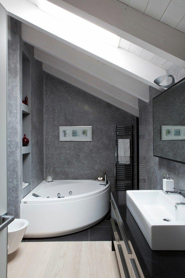 Dise o de ba os jacuzzi paredes gris cuadro decorativo - Interiorismo banos pequenos ...