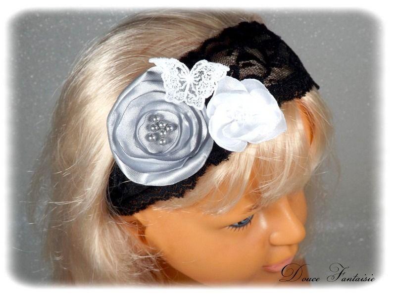 bandeau dentelle noir et blanc gris papillon satin perles coiffe cheveux enfant fille mariage. Black Bedroom Furniture Sets. Home Design Ideas