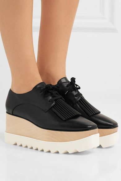 2a4fa9af7f6 Stella McCartney - Elyse Faux Leather Platform Brogues - Black ...