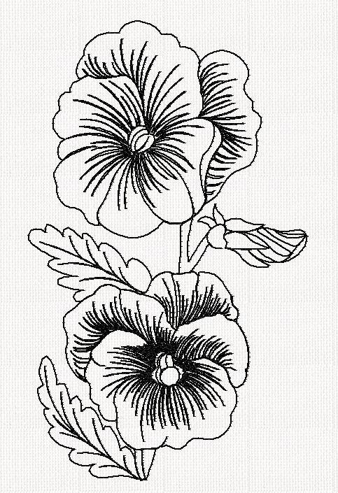 pansy-flower-redwork-embroidery | flowers | Pinterest | Dibujo de ...