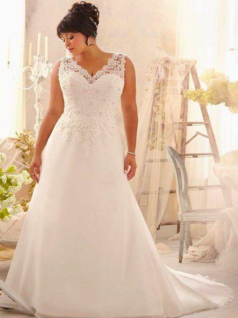 vestido de novia para gorditas tirantes amplios escote corazón | novias