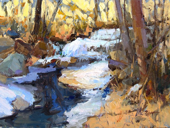 Painting for the Frame of Reference Smaller works show in Whitefish, MT. Icing, 9x12, $2300. This is a creek near my house. While we get very little snow here in Tennessee, we do get lots of ice. It sparkles so beautifully and I love painting it. This is from a reference from last year, but the season will be upon us soon! Opens Dec. 5 #artist #painting #artwork #color #fineart #artoftheday #oilpainting #studio #process #brushes #rosemarybrushes #gamblinoils #loriputnamart #followloriputnam 