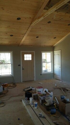 Vaulted Tongue And Groove Ceiling Sherwin Williams Mindful Gray Tongue And Groove Ceiling Knotty Pine Walls Tongue And Groove Walls