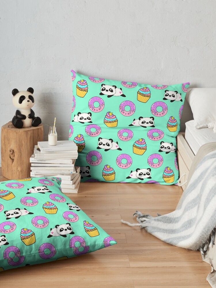 Cute funny Kawaii chibi little playful baby panda bears, happy sweet pink donuts and adorable yummy cupcakes light pastel teal green pattern design. Nursery decor. Floor Pillow