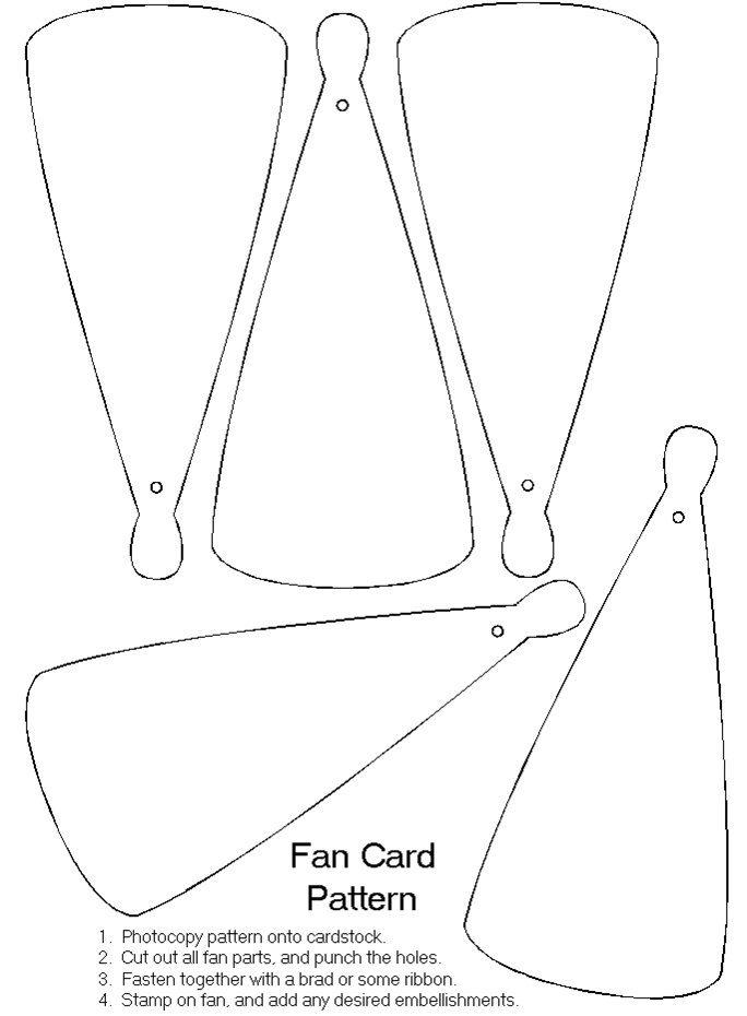 Fan Blades Card Making Templates Paper Fans Wedding Fans