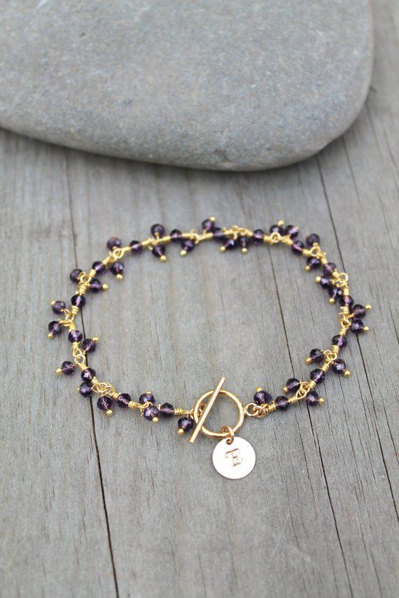 0a194d63f Amethyst bracelet, Personalized initial, beaded, gemstone bead,14k gold  filled toggle clasp, custom stamped circle disc, customized monogram | gift  ideas ...
