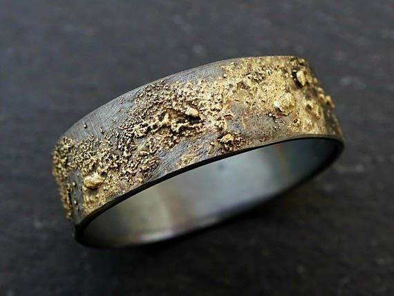 Mens Wedding Band Gold Silver Meteorite Ring Gold