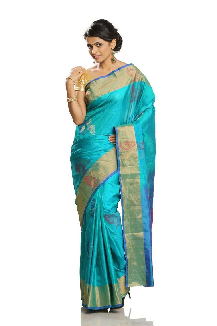 9c3b44f13560f4 Rama Green Colored Body with Jari and Thread work Butta Soft Silk Saree  with Peacock Blue