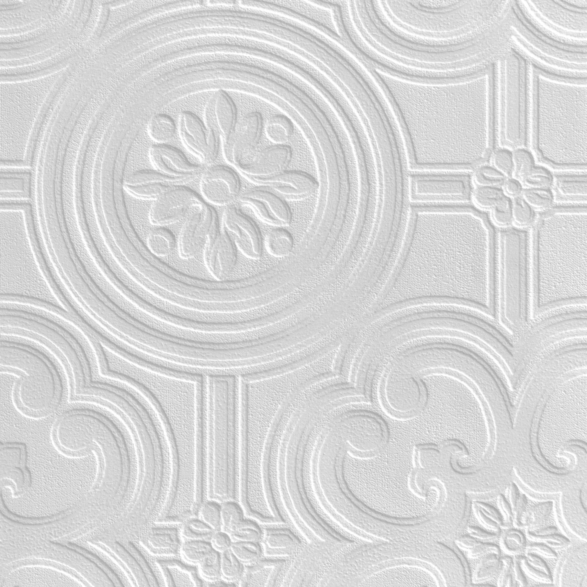 Retford anaglypta luxury egon white ceiling paintable for Embossed wallpaper