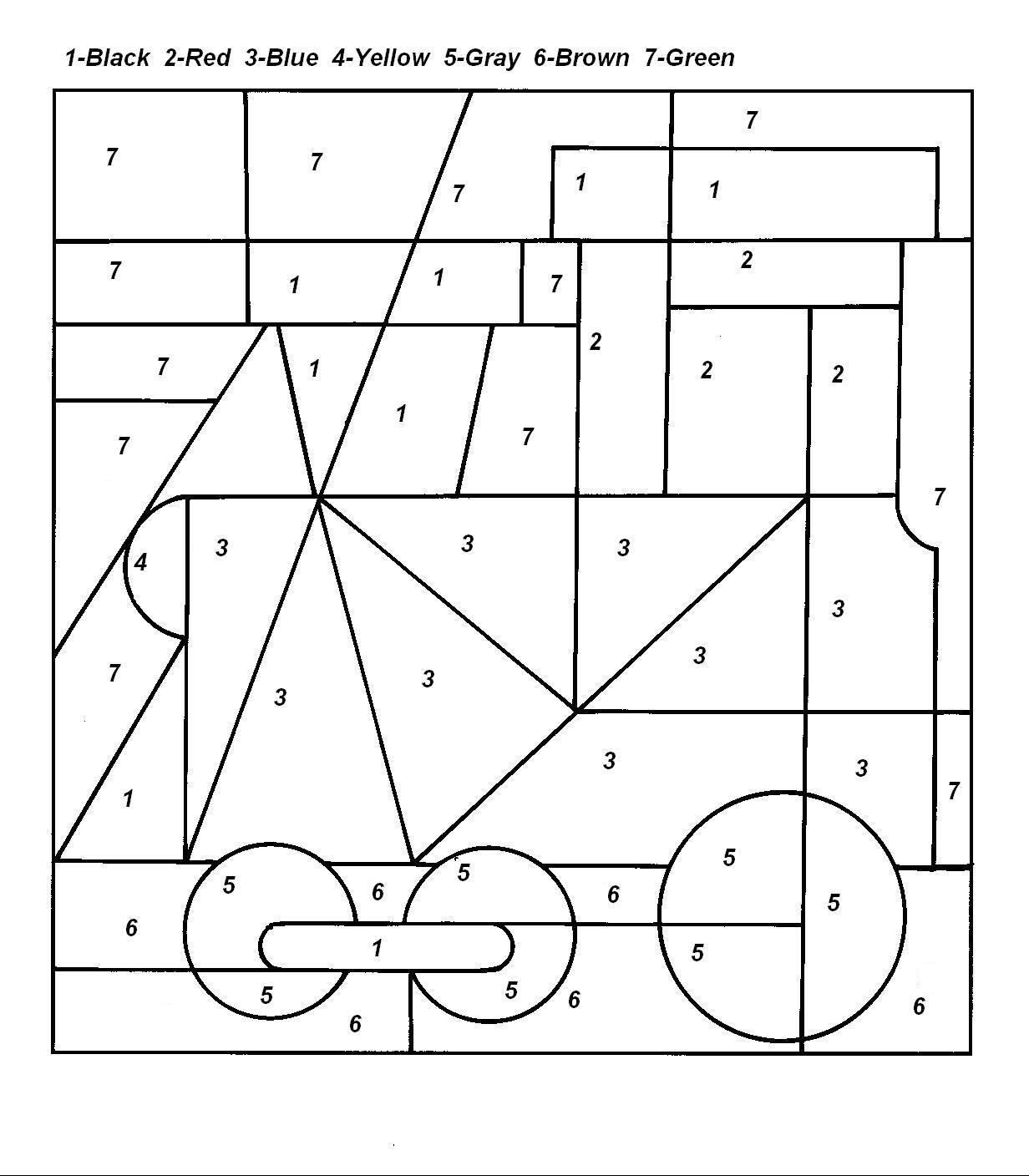 Train boxcar coloring pages - Color By Numbers Page Print Your Free Color By Numbers Page At Allkidsnetwork Com