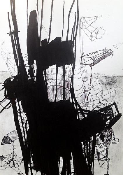 Apollo 9 - Kunstner, Kunstmaler, Illustrator, Thomas Dausell, Illustration, Abstrakt, Arkitektur, Bygninger, Grafisk, : www.artunika.dk / www.artunika.com Apollo 9 - 40 x 50 cm. En original illustration / tegning af Thomas Dausell.  Apollo tegningerne er alle indrammet i en sort lækker kvadratisk ramme med ægte glas.  I beskrivelsen om Thomas Dausell, kan man læse om tilgangen til værkerne....