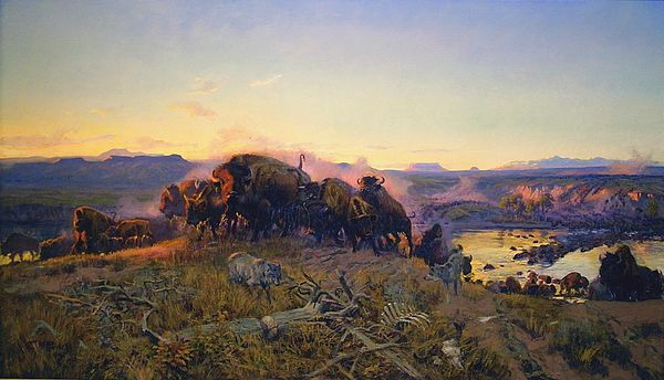 When The Land Belonged To God - Charlie Russell in his youthCharles Marion Russell (b. 1864, Oak Hill, Missouri - d. 1926, Great Falls, Montana), also known as C.M. Russell, was one of the great artists of the American West. Russell created more than 2,000 paintings of cowboys, Indians, and landscapes set in the Western United States, in addition to bronze sculptures. His mural entitled Lewis and Clark Meeting the Flathead Indians hangs in the state capitol building in Helena, Montana.