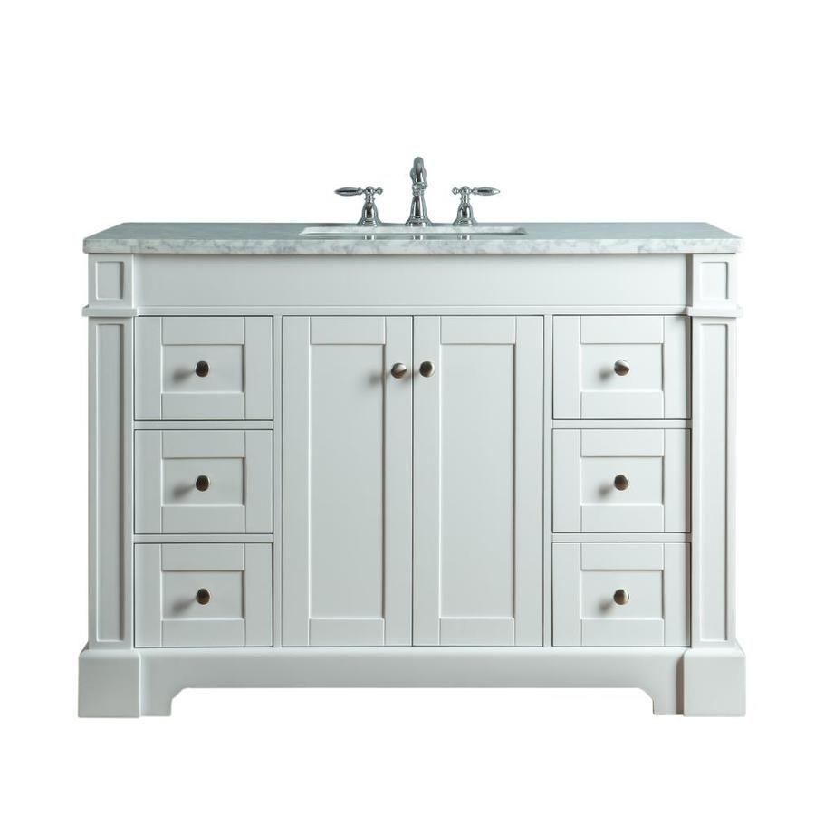 Stufurhome 48 In White Single Sink Bathroom Vanity With Carrara