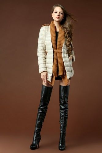 2013 Fall/Winter Women New Pleated Leather High Heels Thigh High ...