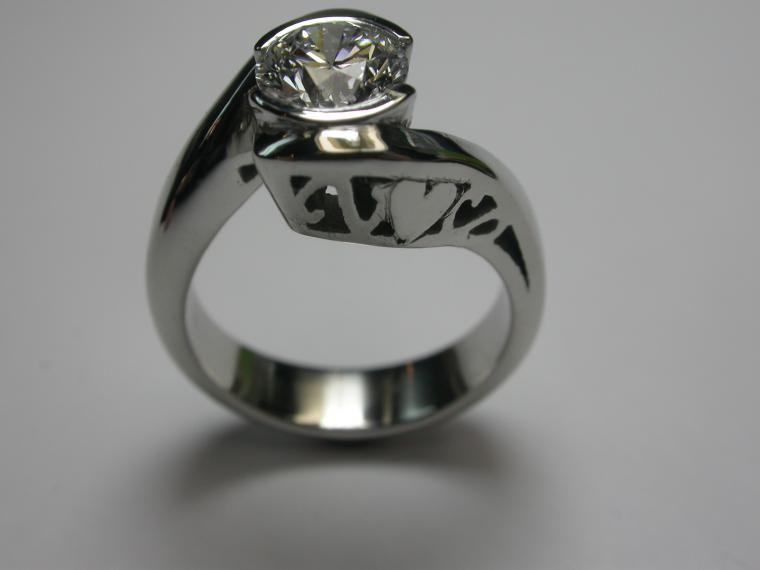contemporary wedding rings modern half bezel with filigree engagement rings - Modern Wedding Rings