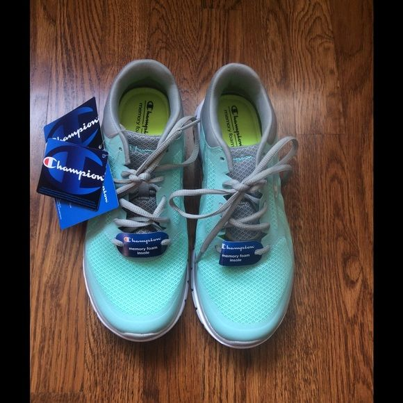 a1b06fde27cee Champion sneakers Brand new never worn mint green turquoise and grey  running sneakers. Really cute! Champion Shoes Athletic Shoes