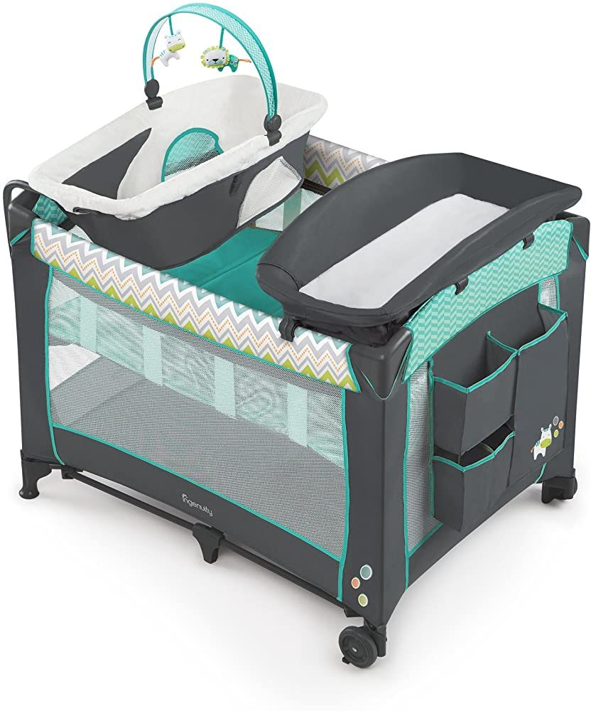 Ingenuity Smart And Simple Packable Portable Playard With Changing Table Ridgedale Wooden Baby Walker Baby Activity In 2020 Playard Baby Swing Outdoor Baby Lounger