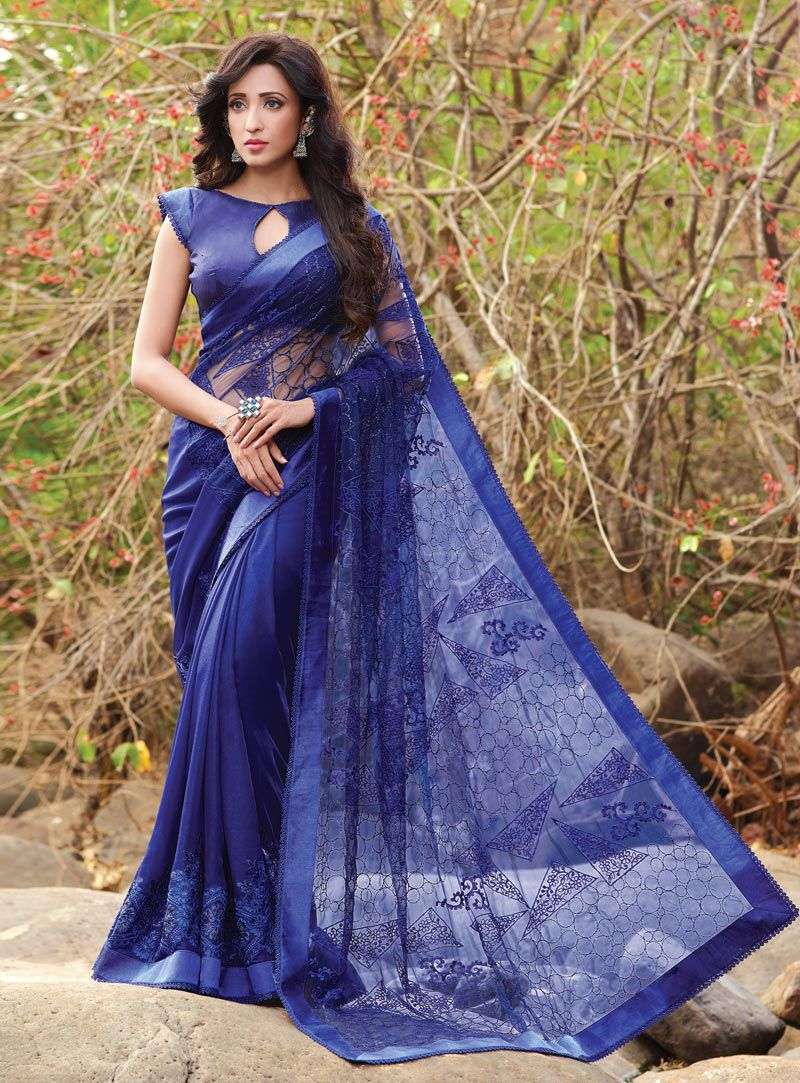 3ba2f09e71 Blue Net Party Wear Saree 99460 | Saree and Blouse | Blue saree ...