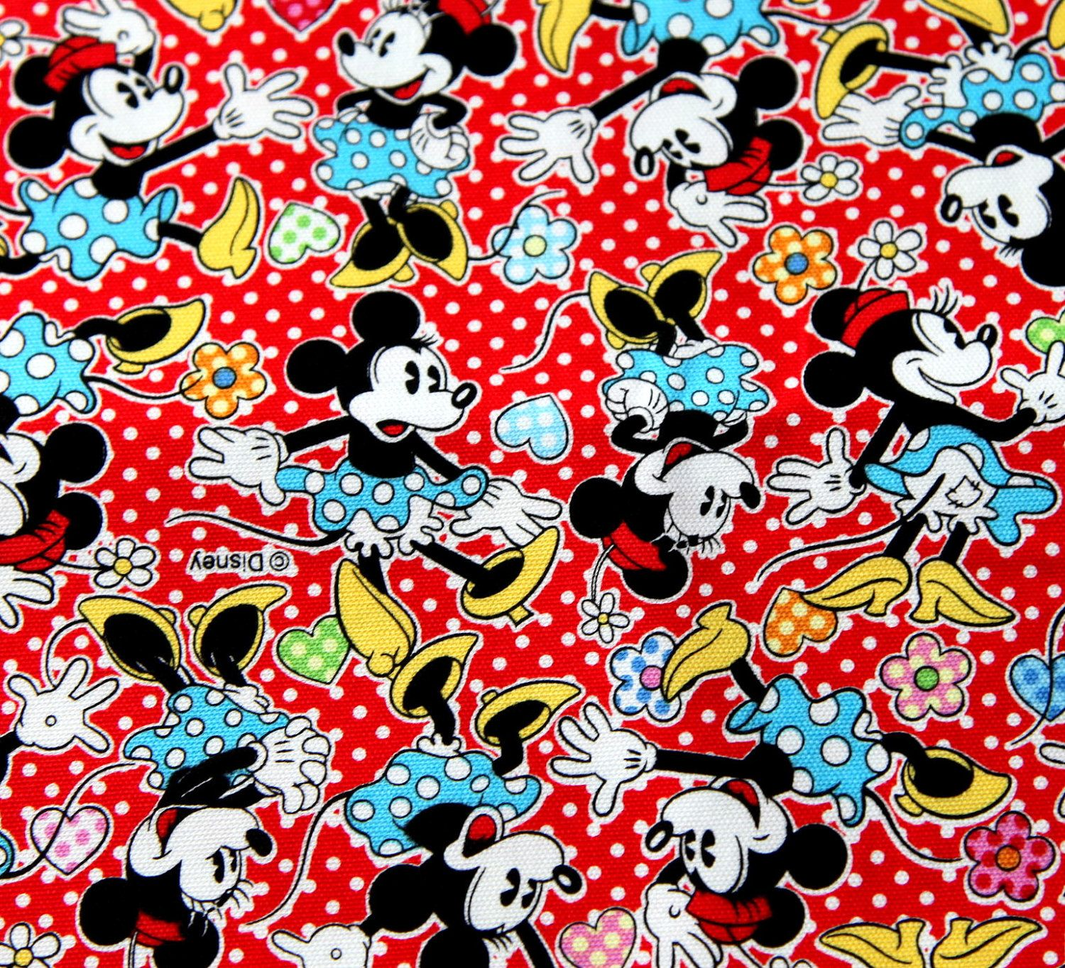 Disney cartoon mickey mouse and minnie mouse print
