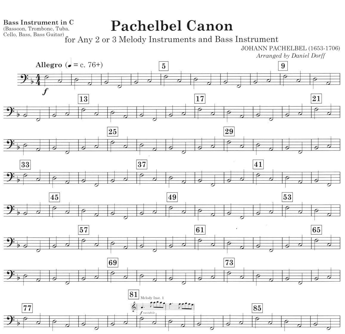 Cello Canon In D Sheet Music