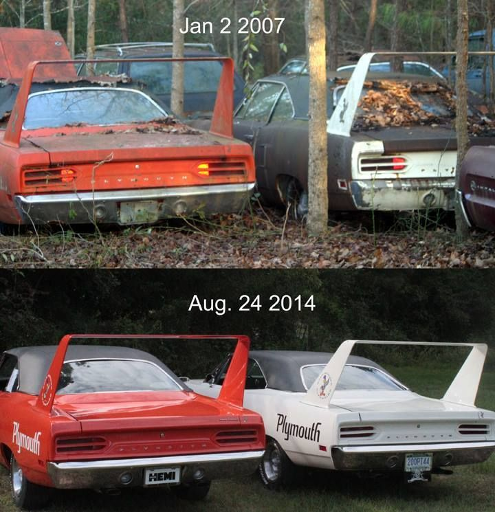 Plymouth Superbirds before and after. Great story too, rescued and restored by a father and son team who bought the cars from the original owner.