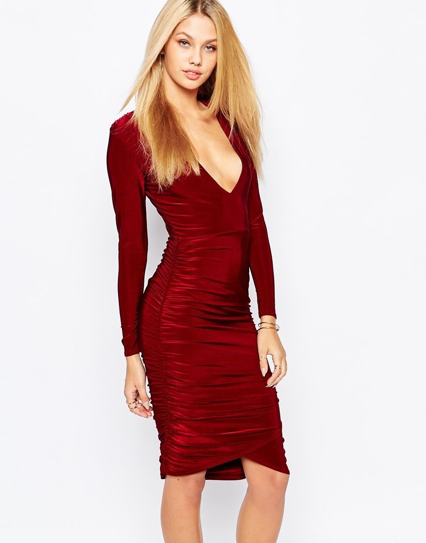 7cfe112d257a Image 1 of Missguided Slinky Plunge Long Sleeve Midi Dress | Love ...