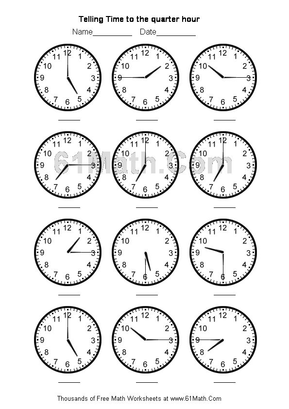 Telling Time Worksheets  Telling Time To The Quarter Hour Create