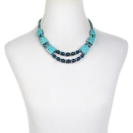 Jay King Turquoise and Lapis Drape Necklace