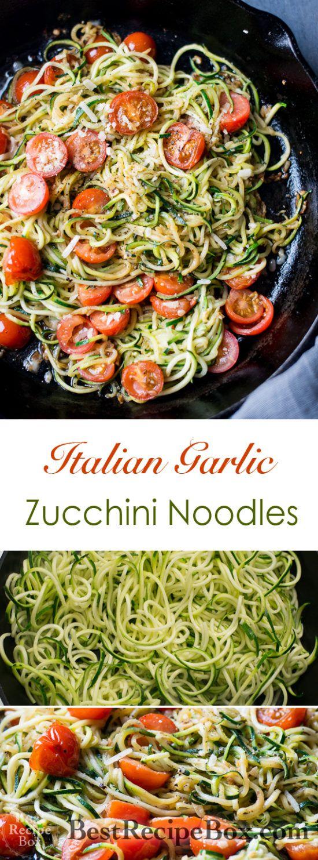 Italian Zucchini Noodles with Garlic, Tomato, Parmesan