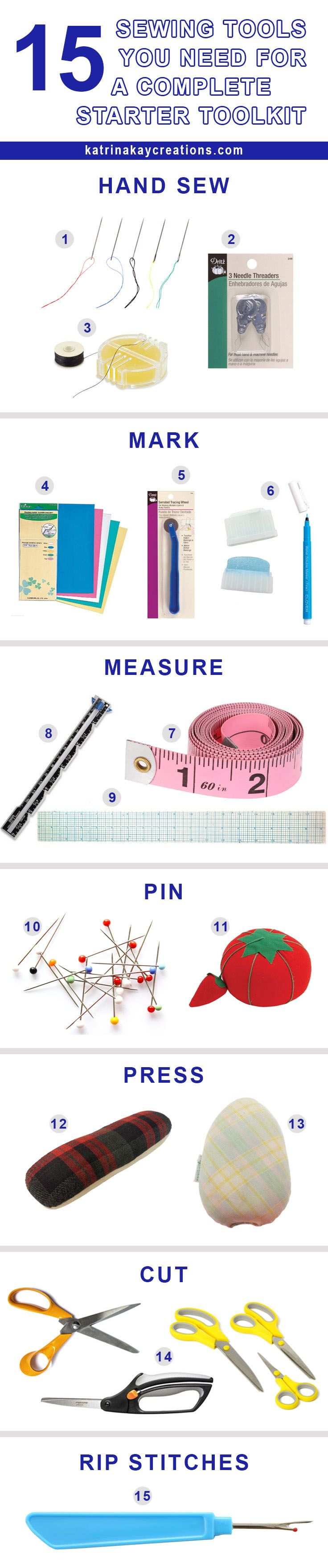 15 Sewing Tools You Need For A Complete Starter Toolkit - Katrina Kay Creations