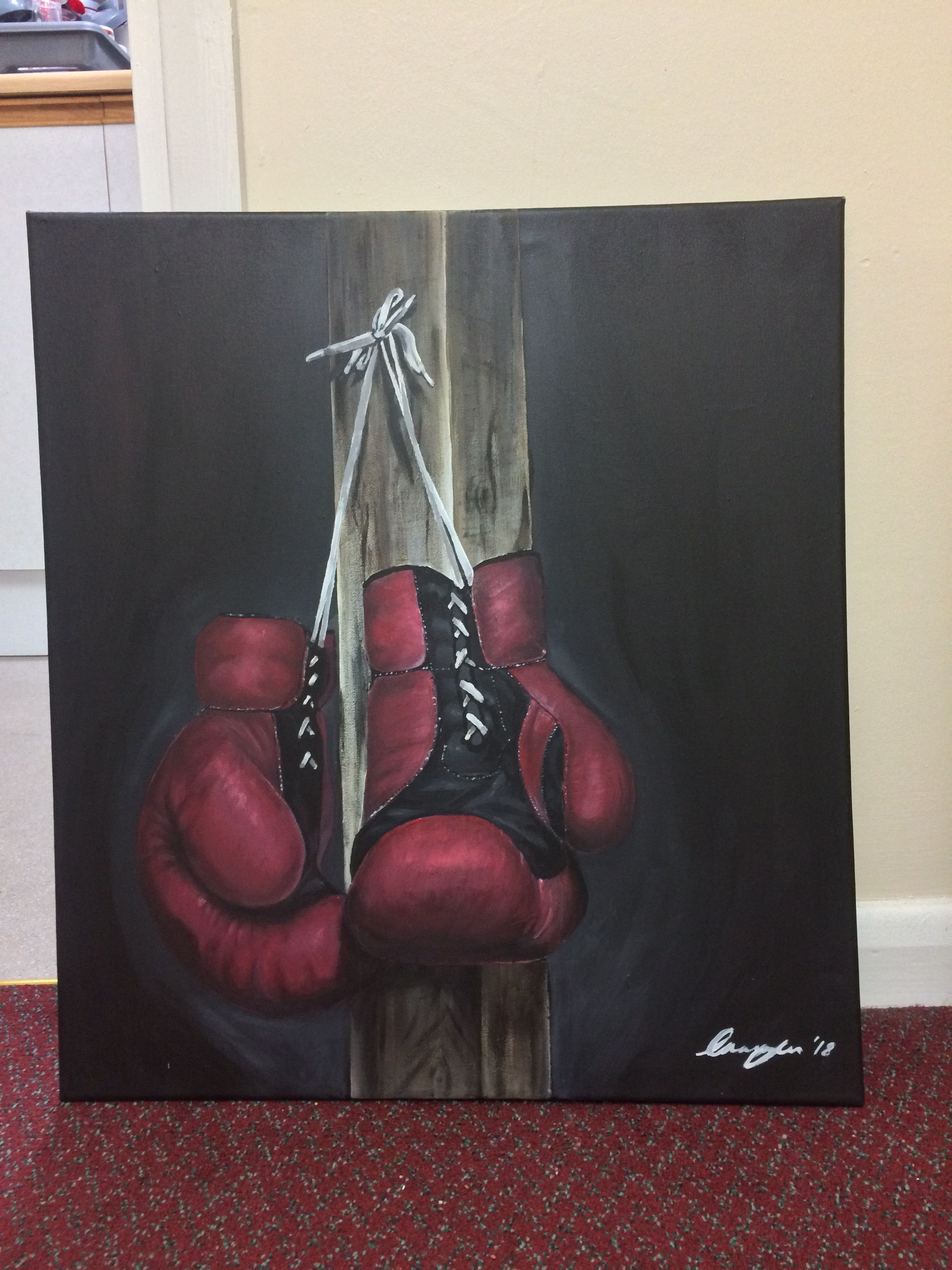 Boxing glove painting boxing gloves art boxing gloves