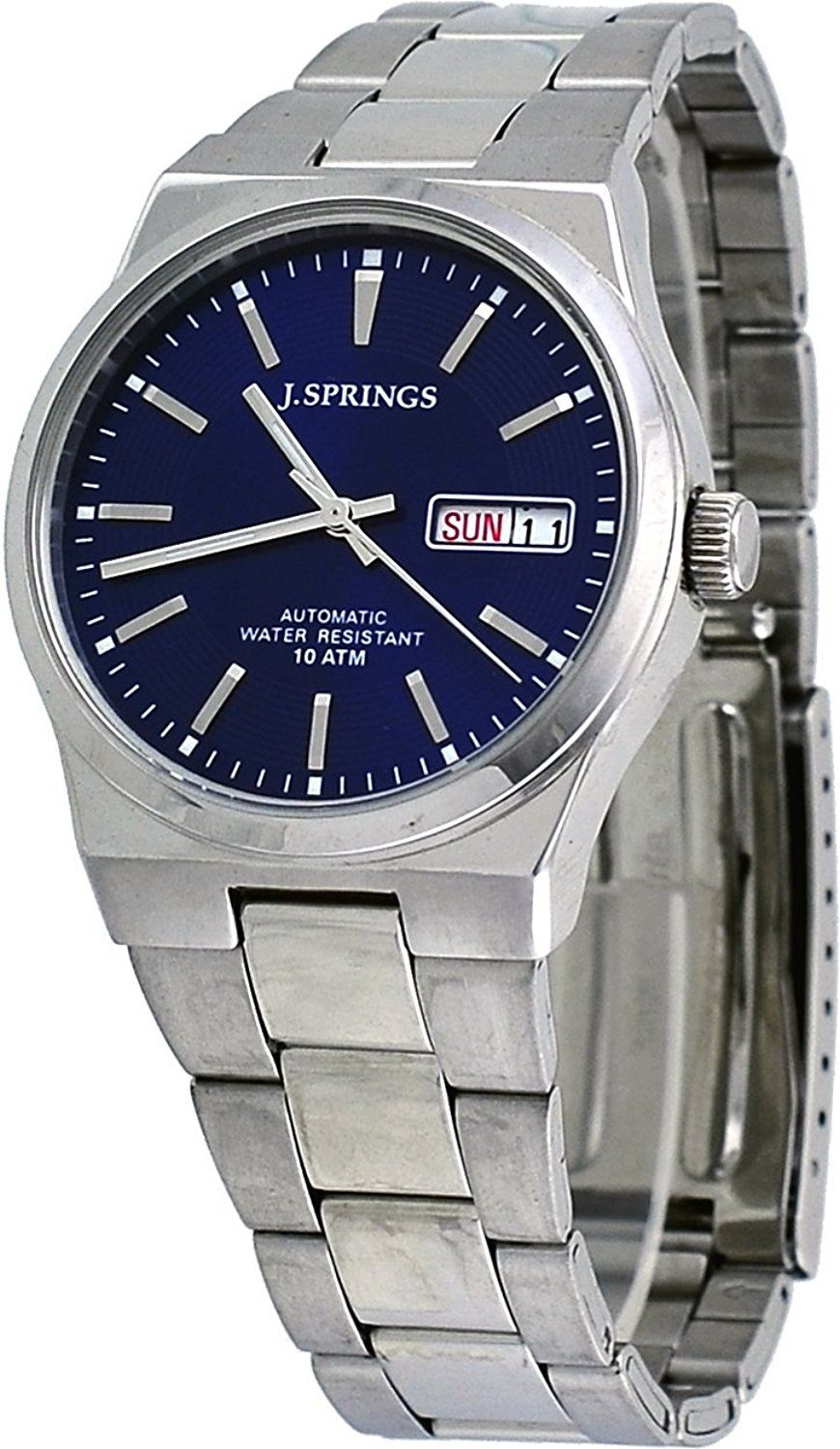 d781b37dd Amazon.com: J Springs #BEB032 Men's Stainless Steel Blue Dial Day Date  Automatic