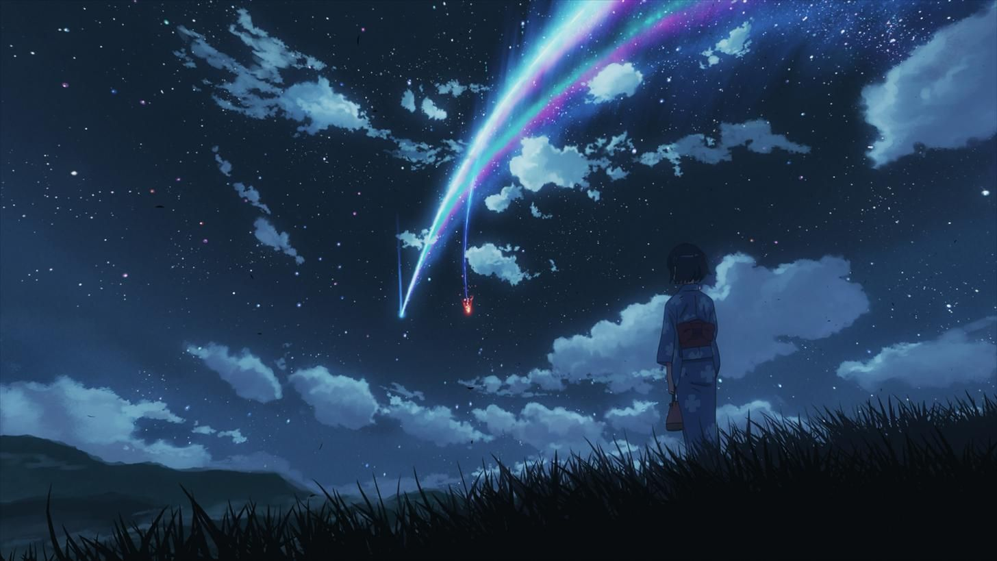 Your Name 4k Wallpaper Galore In 2021 Anime Scenery Wallpaper Scenery Wallpaper Black And Blue Wallpaper