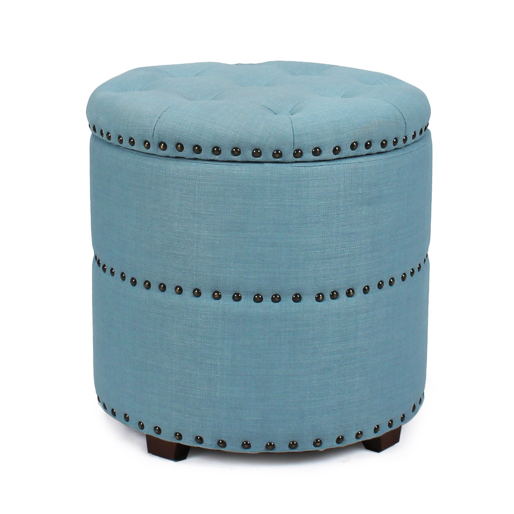 Homebeez Euro Style Fabric Bench Ottoman Chair Footstool, Wood Legs, lid storage, Nailhead Trim, Cylinder (Blue)