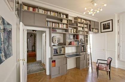 biblioth que murale par olivier doll plaqu de bois de. Black Bedroom Furniture Sets. Home Design Ideas