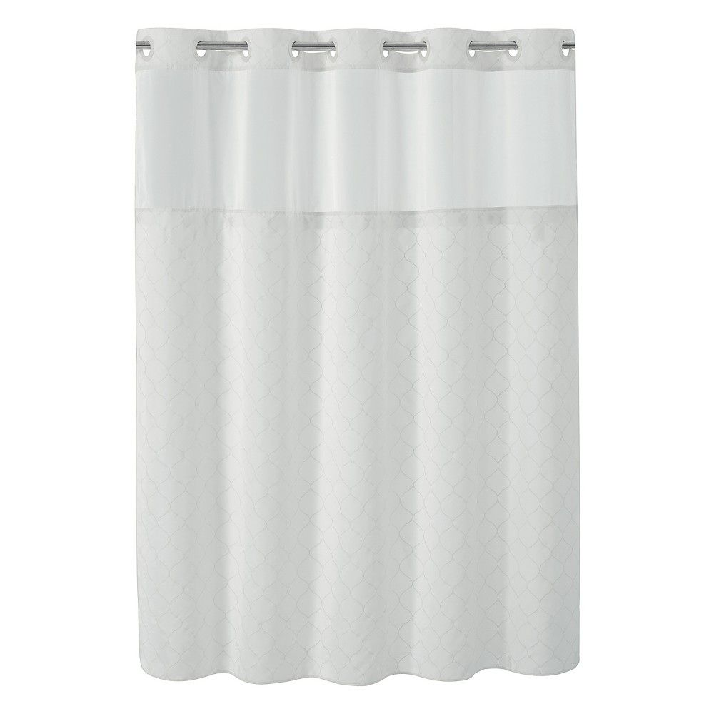 Hookless 71 X74 Mosaic Shower Curtain With Liner White Hookless