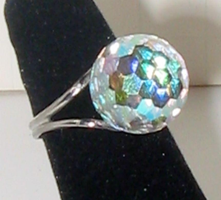 31ec1e94f3f07 Fabulous Vintage 70s Disco Ball Prism Crystal Ring AB Rainbow ...